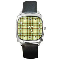 Geometric Tartan Pattern Square Square Metal Watch by Sapixe