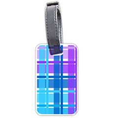 Gingham Pattern Blue Purple Shades Luggage Tags (one Side)  by Sapixe