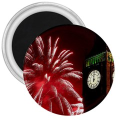 Fireworks Explode Behind The Houses Of Parliament And Big Ben On The River Thames During New Year's 3  Magnets by Sapixe