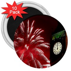 Fireworks Explode Behind The Houses Of Parliament And Big Ben On The River Thames During New Year's 3  Magnets (10 Pack)  by Sapixe