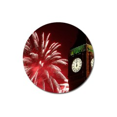 Fireworks Explode Behind The Houses Of Parliament And Big Ben On The River Thames During New Year's Magnet 3  (round) by Sapixe