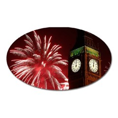 Fireworks Explode Behind The Houses Of Parliament And Big Ben On The River Thames During New Year's Oval Magnet by Sapixe