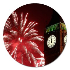 Fireworks Explode Behind The Houses Of Parliament And Big Ben On The River Thames During New Year's Magnet 5  (round) by Sapixe