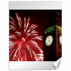 Fireworks Explode Behind The Houses Of Parliament And Big Ben On The River Thames During New Year's Canvas 12  X 16   by Sapixe