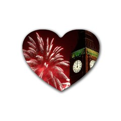 Fireworks Explode Behind The Houses Of Parliament And Big Ben On The River Thames During New Year's Rubber Coaster (heart)  by Sapixe