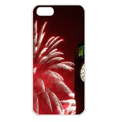 Fireworks Explode Behind The Houses Of Parliament And Big Ben On The River Thames During New Year's Apple Iphone 5 Seamless Case (white) by Sapixe