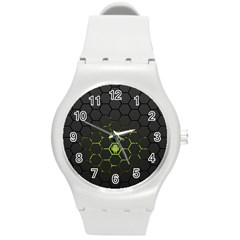 Green Android Honeycomb Gree Round Plastic Sport Watch (m) by Sapixe