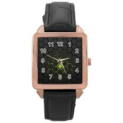 Green Android Honeycomb Gree Rose Gold Leather Watch  by Sapixe