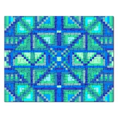 Grid Geometric Pattern Colorful Rectangular Jigsaw Puzzl by Sapixe