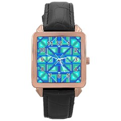 Grid Geometric Pattern Colorful Rose Gold Leather Watch  by Sapixe
