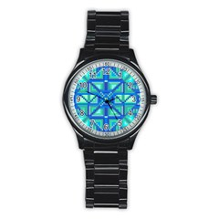 Grid Geometric Pattern Colorful Stainless Steel Round Watch by Sapixe