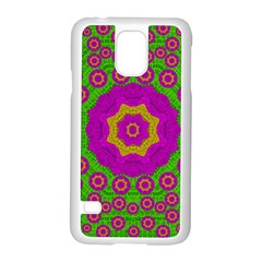 Decorative Festive Bohemic Ornate Style Samsung Galaxy S5 Case (white) by pepitasart