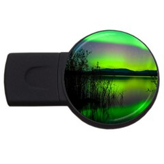 Green Northern Lights Canada Usb Flash Drive Round (2 Gb) by Sapixe
