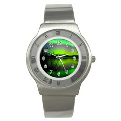 Green Northern Lights Canada Stainless Steel Watch by Sapixe