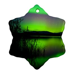 Green Northern Lights Canada Snowflake Ornament (two Sides) by Sapixe