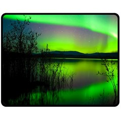 Green Northern Lights Canada Double Sided Fleece Blanket (medium)  by Sapixe