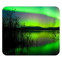 Green Northern Lights Canada Double Sided Flano Blanket (small)  by Sapixe