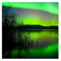 Green Northern Lights Canada Large Satin Scarf (square) by Sapixe