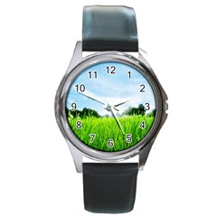 Green Landscape, Green Grass Close Up Blue Sky And White Clouds Round Metal Watch by Sapixe