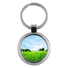 Green Landscape, Green Grass Close Up Blue Sky And White Clouds Key Chains (round)  by Sapixe