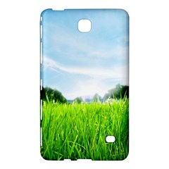 Green Landscape, Green Grass Close Up Blue Sky And White Clouds Samsung Galaxy Tab 4 (8 ) Hardshell Case  by Sapixe