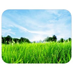 Green Landscape, Green Grass Close Up Blue Sky And White Clouds Full Print Lunch Bag by Sapixe