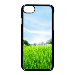 Green Landscape, Green Grass Close Up Blue Sky And White Clouds Apple Iphone 8 Seamless Case (black)