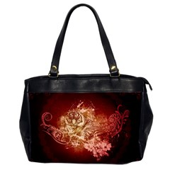 Wonderful Tiger With Flowers And Grunge Office Handbags (2 Sides)  by FantasyWorld7