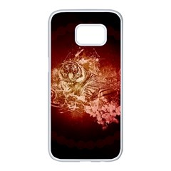 Wonderful Tiger With Flowers And Grunge Samsung Galaxy S7 Edge White Seamless Case by FantasyWorld7