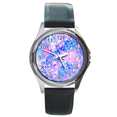 Flower Of Life Pattern Painting Blue Round Metal Watch by Cveti