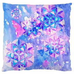 Flower Of Life Pattern Painting Blue Large Flano Cushion Case (one Side) by Cveti