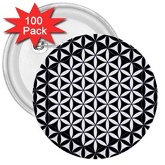 Flower Of Life Hexagon Cube 4 3  Buttons (100 Pack)  by Cveti