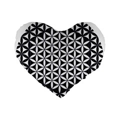 Flower Of Life Hexagon Cube 4 Standard 16  Premium Flano Heart Shape Cushions by Cveti