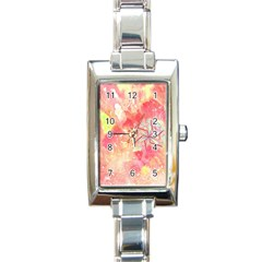 Flower Of Life Pattern Pink Rectangle Italian Charm Watch by Cveti