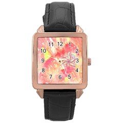 Flower Of Life Pattern Pink Rose Gold Leather Watch  by Cveti