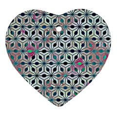 Asterisk, Pattern Sacred Geometry 1 Heart Ornament (two Sides) by Cveti