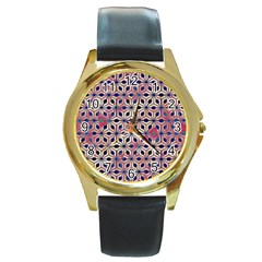 Asterisk Pattern Sacred Geometry 2 Round Gold Metal Watch by Cveti