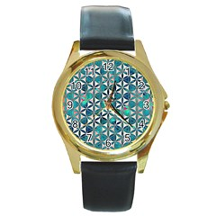 Flower Of Life, Paint, Turquoise, Pattern, Round Gold Metal Watch by Cveti