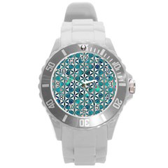 Flower Of Life, Paint, Turquoise, Pattern, Round Plastic Sport Watch (l) by Cveti