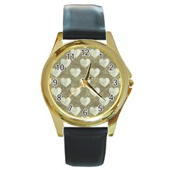 Hearts Motif Pattern Round Gold Metal Watch by dflcprints