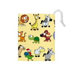 Group Of Animals Graphic Drawstring Pouches (medium)  by Sapixe