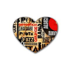 Guitar Typography Rubber Coaster (heart)  by Sapixe