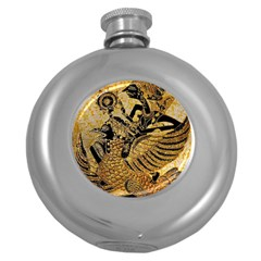 Golden Colorful The Beautiful Of Art Indonesian Batik Pattern Round Hip Flask (5 Oz) by Sapixe