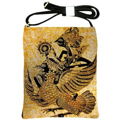 Golden Colorful The Beautiful Of Art Indonesian Batik Pattern Shoulder Sling Bags by Sapixe