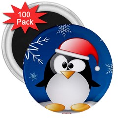 Happy Holidays Christmas Card With Penguin 3  Magnets (100 Pack) by Sapixe