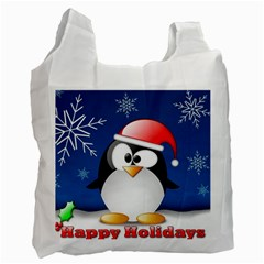 Happy Holidays Christmas Card With Penguin Recycle Bag (one Side) by Sapixe