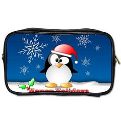 Happy Holidays Christmas Card With Penguin Toiletries Bags by Sapixe
