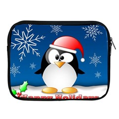 Happy Holidays Christmas Card With Penguin Apple Ipad 2/3/4 Zipper Cases by Sapixe