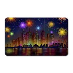 Happy Birthday Independence Day Celebration In New York City Night Fireworks Us Magnet (rectangular) by Sapixe