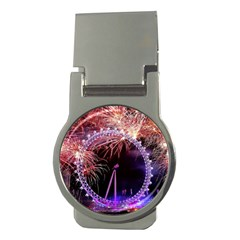 Happy New Year Clock Time Fireworks Pictures Money Clips (round)  by Sapixe